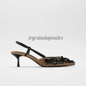 Zara Paillette Sequin Pointy Toe Slingbacks 37 6.5